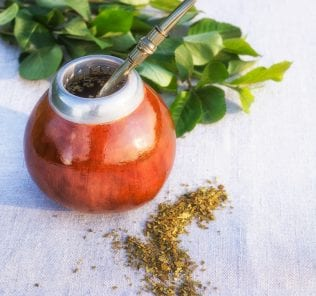 Yerba mate drink and leaves