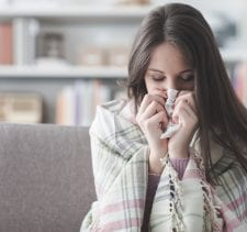 Sick woman with flu
